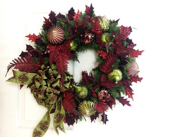 Burgundy Wreath * Christmas Wreath * Front Door Wreath * Holiday Wreath * Christmas Decor * Holiday Decor * Burgundy and Olive Green Wreath