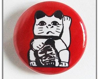 """Lucky Cat, Maneki Neko 1"""" Pin-back Button or Magnet"""