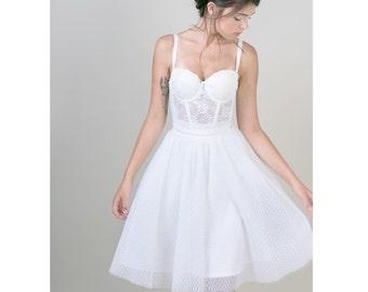 Polka dots tulle skirt / white knee length bridal skirt / Rehearsal skirt