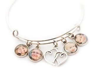 Photo Charm Bracelet / Photo Bracelet / Photo Bangle Bracelet / Photo Jewelry / Photo Gifts / Mother's Day Gift / Grandmother Gift