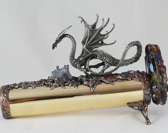 Brass Kaleidoscope with Dragon collectors handmade fantasy titanium crystal Darlene Musser