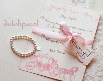 CARD and  PEARL BRACELET Will you be my Flower Girl invitation in gift box satin ribbon personalized pearl bracelet flowergirl fairytale