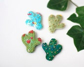 Reserved for Maegan! Cactus Sequin Brooch, Green Sequin Cacti, Felt Bead Embroidery, Nature Botanical Jewelry, Desert Wild Plant