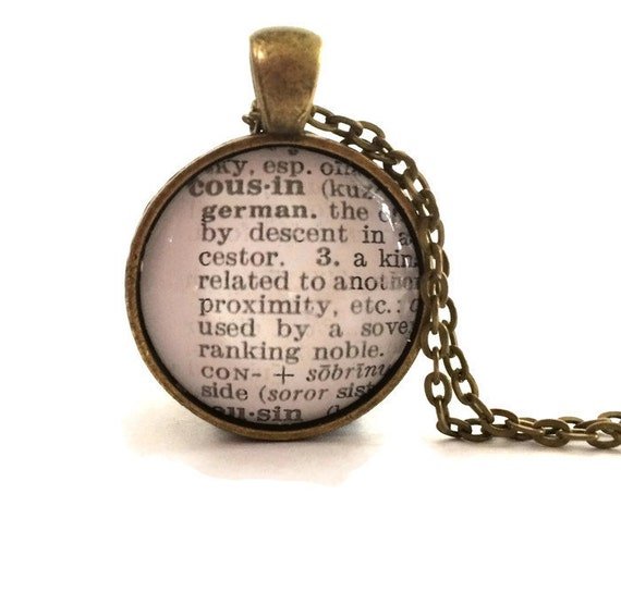 Cousin Necklace, Cousin Definition, Dictionary Necklace, Family, Bronzed or Silver Plated