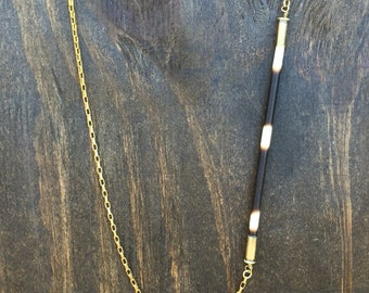 African Porcupine Quill Long Brass Necklace