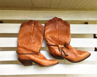 Vintage brown leather cowboy boots, ankle booties, southwestern, womens shoes size 7