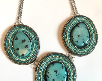 Turquoise Bib- Bridal Necklace by Ashlee Collection on Etsy