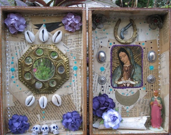 Our Lady of Guadalupe shrine, mixed media shadow box, found object art