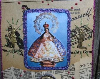 Holy Mother icon, mixed media shrine, tiny art