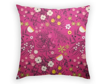 Floral Throw Pillow Cushion Cover Slip Sham Australian Wildflowers Linen Cotton Deep Pink Mustard Yellow Botanical Print Botany Daisy