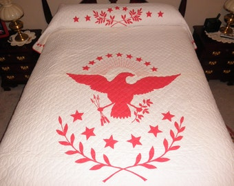 QUILT - Red White  EAGLE - Whole Cloth Machine Quilted - No damage  78 x 104 inches