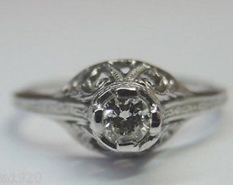 Antique Diamond White Gold Engagement Ring | RE: