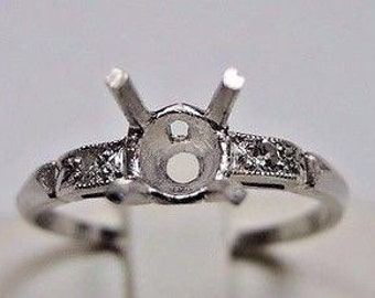 Antique Vintage Deco Diamond Platinum Ring Setting | Will Hold 5-6.5MM | ES-225