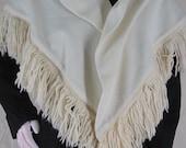 Vintage Triangle Shawl Wrap Cream Wool Jersey Yarn Fringe I Magnin