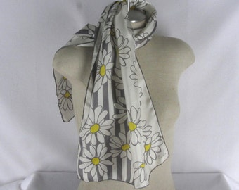 """Echo Scarf Off White Silk Gray Yellow Daisy Print Oblong 15"""" x 45"""" Hand Rolled"""