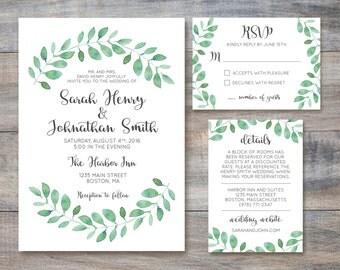Printable Wedding Invitation Suite / Bohemian / Garden Wedding
