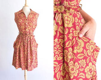 Vintage 50s dress | 1950s Cotton Dress | Mode O' Day Red and Mustard Floral Sundress