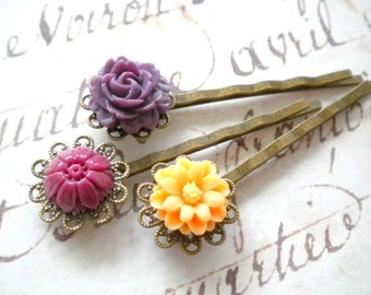 Flower Bobby Pin Set Flower Hair Accessories Purple Bobby Pin Birthday Gift Floral Hair Pin Prom Hair Accessories Cameo Purple Hair Pin