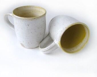 White and Yellow Coffee Mugs/Pair