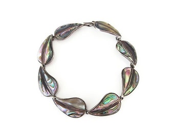 Mexican Sterling Abalone Shell Bracelet - Cuernavaca Mexico, Leaf Leaves, 925 Silver, Vintage Bracelet, Vintage Jewelry