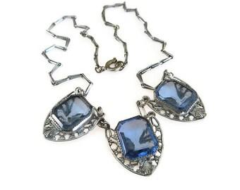 Art Deco Necklace, Sapphire Blue, Glass, Silver Filigree, Antique Jewelry, Vintage Necklace