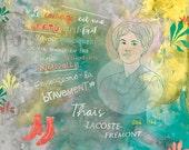 Feminist print, Thaïs Lacoste-Frémont, Poster, Quebec Feminist, French canadian feminist woman