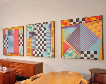 1980's Memphis Style Abstract Paintings