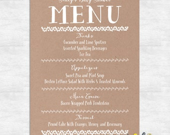 Rustic Shower Menu / wedding menu / baby shower menu / bridal shower menu / printable menu / printable template