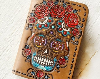 Leather Passport Cover - Red Roses and Sugar Skull Design - Day of the Dead - Mexicali Calaveras Día de Muertos - Frida - Made to Order