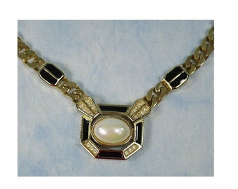 SALE Vintage 80s Christian Dior Germany Enamel, Rhinestone & Faux Pearl Choker Necklace, Signed