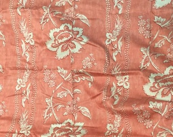 Coral Floral Stripe Waverly Home Decor Fabric By The Yard