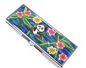 Handmade Polymer Clay Covered Pill Case with 3 Compartments, Panda Design