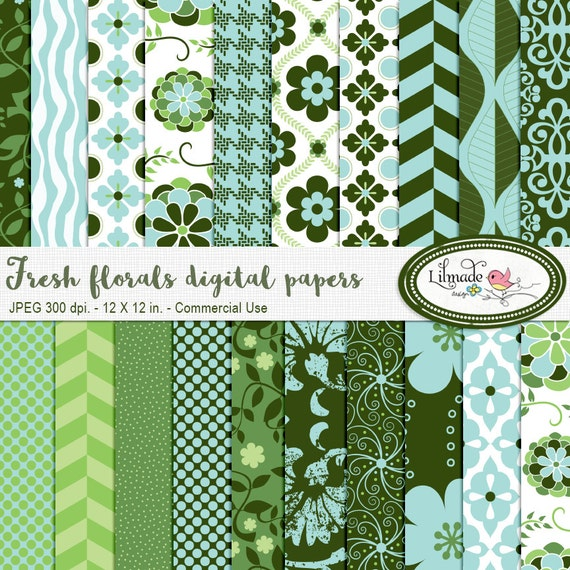 Floral digital papers, floral digital paper, floral scrapbook papers, patterned scrapbook paper, floral backgrounds P49