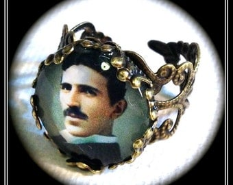 NIKOLA TESLA ・GLaSS RiNG・GENIUS ELECTRiCITY iNVENTOR ReBEL・PORTRAiT・GEEkMANA