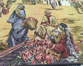 """Vintage Tapestry Biblical Scene Made in Belgium Wall Hanging Religious Motif 19 x 52"""""""