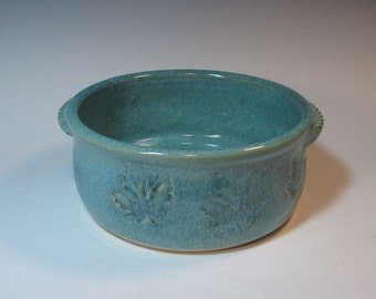 Blue Green Large Casserole Baking Dish with Maple Leaf stamping