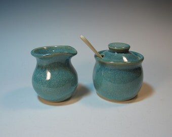 Frosty Green Creamer and Sugar Set with Spoon - In Stock