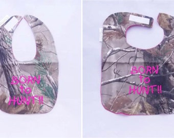 Born To Hunt - Girls -Small OR Large Baby Bib