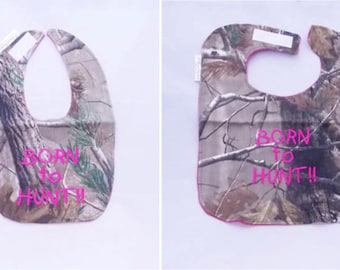 Born To Hunt - Girls -Small OR Large Baby Bib - FREE Shipping