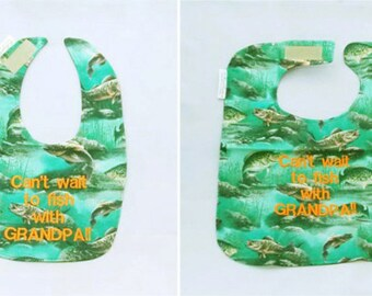 Can't Wait to Fish With Grandpa - Small OR Large Baby Bib - Personalize Yours