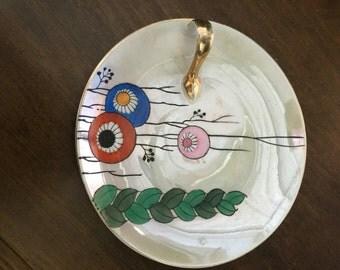 Lustre ware handled dish Noritaki handpainted.