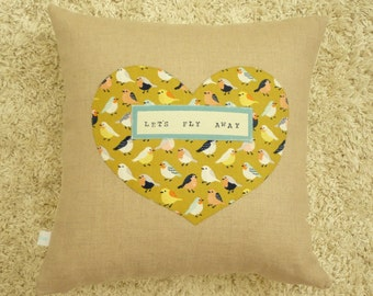 Heart Pillow - Sparrows Pillow Cover  - Decorative Pillow - Nursery Decor - Let's Fly Away - Adventure