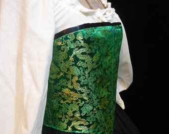Green Dragon Brocade Renaissance Corset, Med