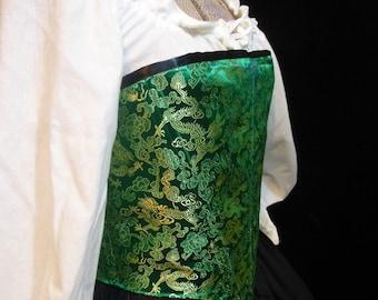 Green Dragon Brocade Renaissance Corset, Med