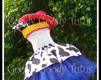 YODEL-A -HE-HOO Jessie Inspired Crocheted Tutu with Red Cowgirl Hat