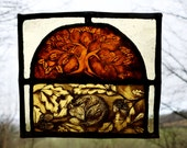 FREE UK P+P! Stained glass panel, fox sleeping under the oak tree, Perfect Gift for mothersday, Home Decor