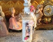 Shabby chic bottle with image