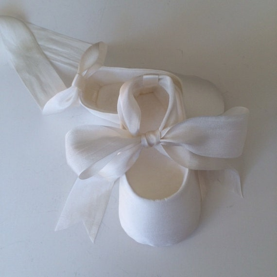 OFF WHITE Christening Shoes Baby Girl Shoes SILK Ballet