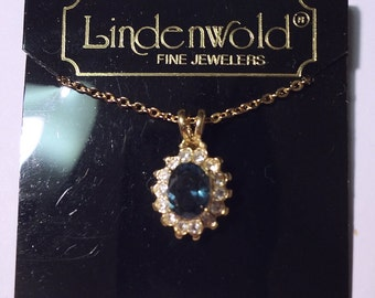 Vintage Lindenwold Large Simulated Sapphire Pendant Necklace NOS