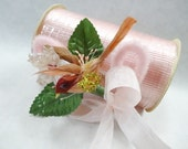 Vintage Pink Chrome Curl Curling Ribbon Spool PLUS A Sweet Tweet Corsage Gift Wrap Package Decoration Supplies
